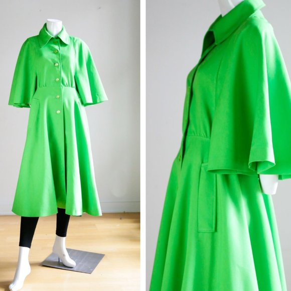 70s Lime Green Bell Butterfly Sleeve Spring Coat